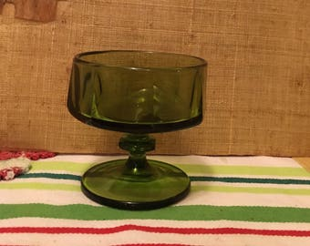 Christmas green glass candy dish