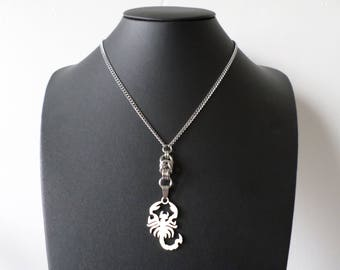 Stainless Steel Gothic Scorpion Statement Necklace - New Wave - Punk Arachnid Pendant Jewelry
