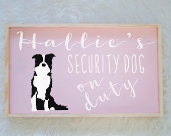 Border Collie Silhouette Painted Wood Nursery Sign, Kids Room Sign, Security Dog, Guard Dog on Duty, Kids Room Decor, Dog Decor, Baby Decor