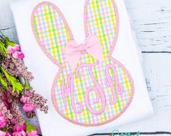 Monogram Bunny APPLIQUE, Bunny Applique, Rabbit Applique, Easter Applique, Rabbit Monogram, Easter Shirt