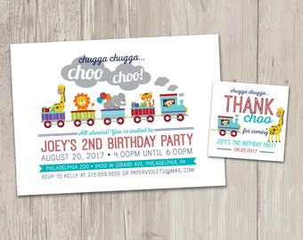 Zoo Train Birthday Invitation, Animal Train Birthday Party, Chugga Chugga Choo Choo Invite with FREE matching favor tags | Digital File