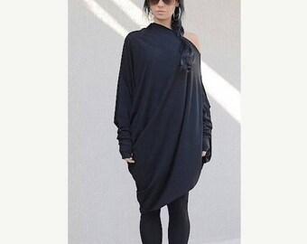 SALE 25% OFF Black Dress / Asymmetric black dress /  plus size DRESS /  Party  Dress  / Evening Dress