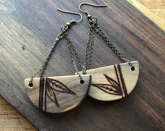 Boho Half Moon Earrings--Mahoe Wood
