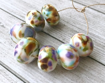 2+ White purple  pink green Glass lampwork multicolour bead -  Handmade Lampwork beads Rainbows Beads