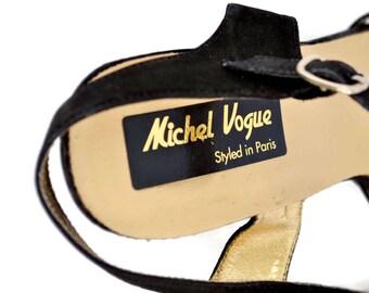 Vintage shoes / womens shoes / vintage pumps / VOGUE black leather STILETTOS  Size 37