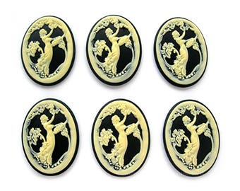 6 Ivory Color on Black Italian Lady Picking Grapes Demeter Goddess of the Harvest Cameo 40mm x 30mm Resin Cameos for Making Costume Jewelry