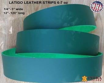 "Kelly Green Leather Strips - Designer Latigo Leather Strip 6-7 oz (2.4 - 2.8 mm) up to 120""- Blank Leather Strips for Craft Projects Green"