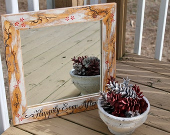 Happily ever after electrified wooden mirror