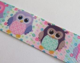OWL in pastel colors grosgrain Ribbon