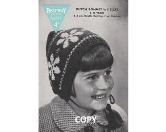 1940's Dutch Bonnet Pattern | INSTANT DOWNLOAD | Girl's Hat | Reproduction Vintage Bestway A2734 Knitting Pattern