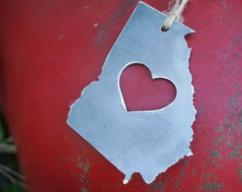 Georgia State Ornament Rustic Raw Steel Metal GA Heart Christmas Tree Decor Holiday Gift Stocking Stuffer Wedding Favor By BE Creations