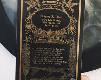 Antique Funeral Announcement 1906