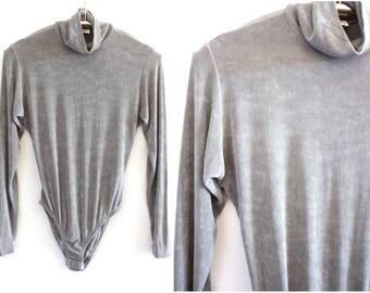 Vintage Gray Long Sleeve Turtleneck Bodysuit M