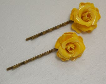 Yellow Flower Hair Pins Bobby Pins from Reworked Vintage Jewelry