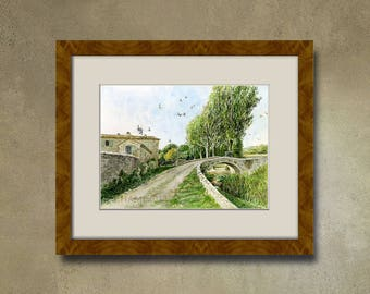 Watercolor of your property - the road to Carluc