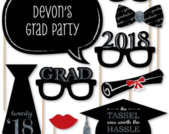 20 Silver Graduation Photo Booth Props - 2018 Graduation Party Photobooth Kit with Custom Talk Bubble