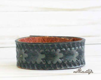 CUSTOM HANDSTAMPED narrow dark grey leather cuff by mothercuffer