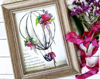 Watercolor Hot Air Balloon Floral psalm psalms 5x7 Print Fine Art Christian floral Painting My Help Comes from the Lord War Room basket bows