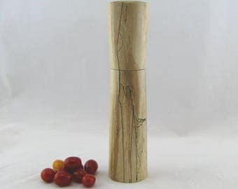 Spices and peppermill grinder in spalted Maple ,Hourglass  style with rod mechanisme  10 7/8 in article no: 571