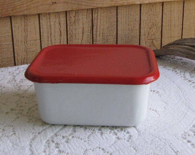 Vintage Enamel Food Storage Pan White and Red Metal Refrigerator Box Food Container