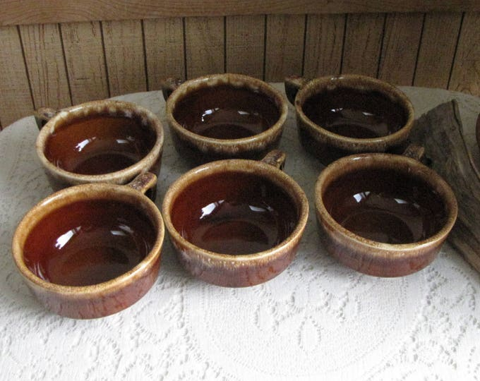 Hull Brown Drip Soup Mugs Set of Six (6) Handled Bowls 1960 to 1985 Vintage Dinnerware and Replacements
