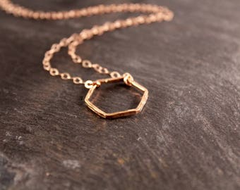 Large Thick Hammered Hexagon Necklace (Gold Sterling Silver Rose Gold Necklace Bridesmaid Wedding Gift for Her Gifts Under 50)