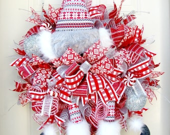 Elf Christmas Wreath- Red and White Christmas Wreath- Holiday Wreath- Deco Mesh Wreath- Front Door Wreath