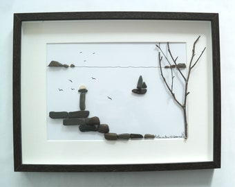 Stone-style Pebble art lighthouse on the island, framed 30x40