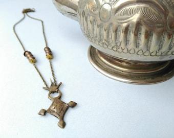 Tuareg cross necklace. Ethnic pendant necklace. Boho ethnic jewelry. Tuareg silver amulet necklace. Tribal fusion necklace. Morocco vintage