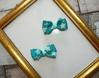 Pair mini-barrettes Turquoise stars