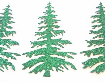 Glitter Christmas tree die cuts
