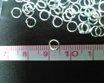 Lot 50 jump rings 5 x 0.5 mm silver white