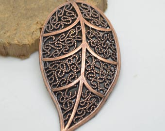 1 beautiful large pendant charm brass leaf 6 cm