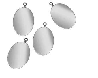 Set of 3 pendants 13 x 18 mm silver-plated ring
