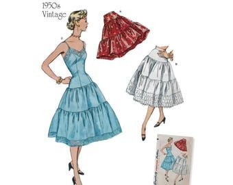 Simplicity Sewing Pattern 8456 Misses' Vintage Petticoat and Slip