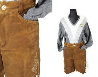 Leather shorts, Loden shorts, Suede shorts, Dirndl shorts, Wide leg sorts, Vintage shorts, High waisted shorts, High waist shorts /  Medium
