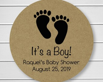 It's a Boy Baby Shower Stickers, Baby Announcement Labels, Brown Paper Stickers, Kraft Stickers (#162-4-KR)