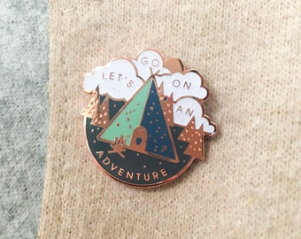 Adventure Pin Gold Hard Enamel Brooch Pin Flair Badge, lapel pin, Cute Gift, travel gift, travel charm, explore, wanderlust, traveller