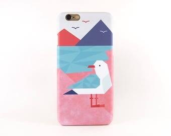 Geometric Seagull iPhone 7 case, iPhone 6S case, iPhone 7 Plus case, iPhone 8 Plus case, iPhone X case, iPhone 6S Plus case, iPhone SE case