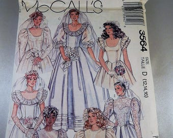 Wedding Gown Bridal Bridesmaid Sizes D 12 14 16 New UNCUT Craft Sewing Pattern Mccalls 3564 Adult Sizes