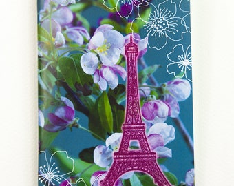 "Notebook fuchia ""Eiffel Tower and Apple Blossoms"" with white and neon pages"