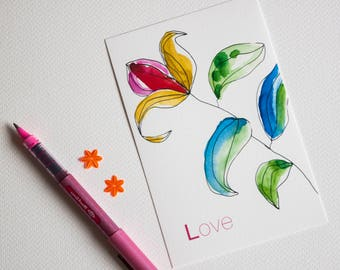 """Card Valentine's day watercolor """"flower love"""" printed on fine art"""