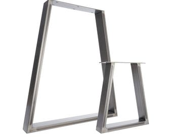 2 x Table Legs - Trapezium Dining Pedestals in Industrial Steel