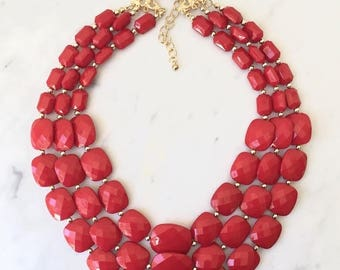 Multi Strands necklace and earrings set, red beaded necklace, three layers, handmade gift idea.