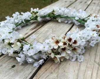 Babys Breath Flower Crown Wedding Bridal Featuring Wax Flower and Gypsophila