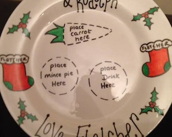 Hand decorated porcelain Santas treat personalised Christmas Eve plate