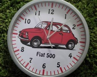 clock wall car fiat 500 red pattern