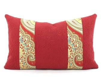"""CLEARANCE Kravet Latika Ikat Pillow Cover 12x20"""" Red and Yellow, Matelasse Pillow, Red Floral Lumbar Pillow, Trim Pillow, Rectangle Pillow"""