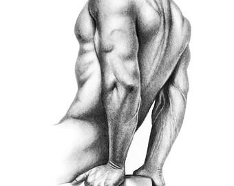 Male Study - No. 3 - Original framed charcoal print