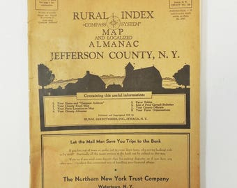 1939 Jefferson County New York NY Rural Index Compass System , Map & Almanac